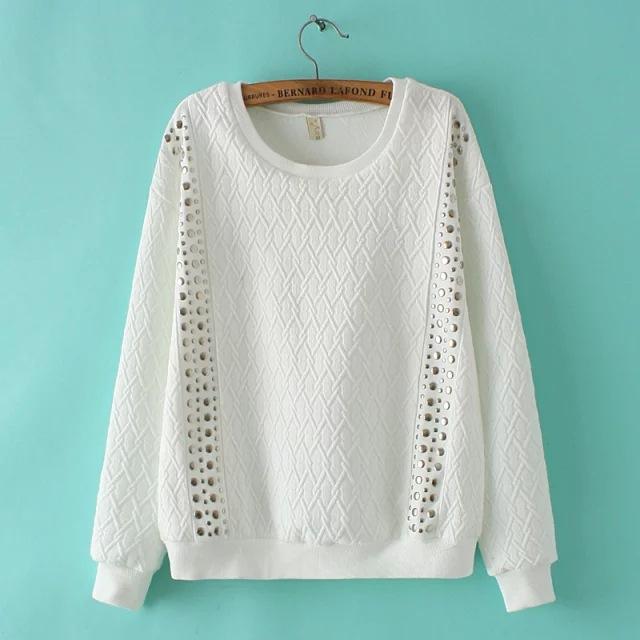 Женские осенние высокого класса заклепки украшения пуловеры для женщин только два каждого размера ноября 05th закрыть высокого качества