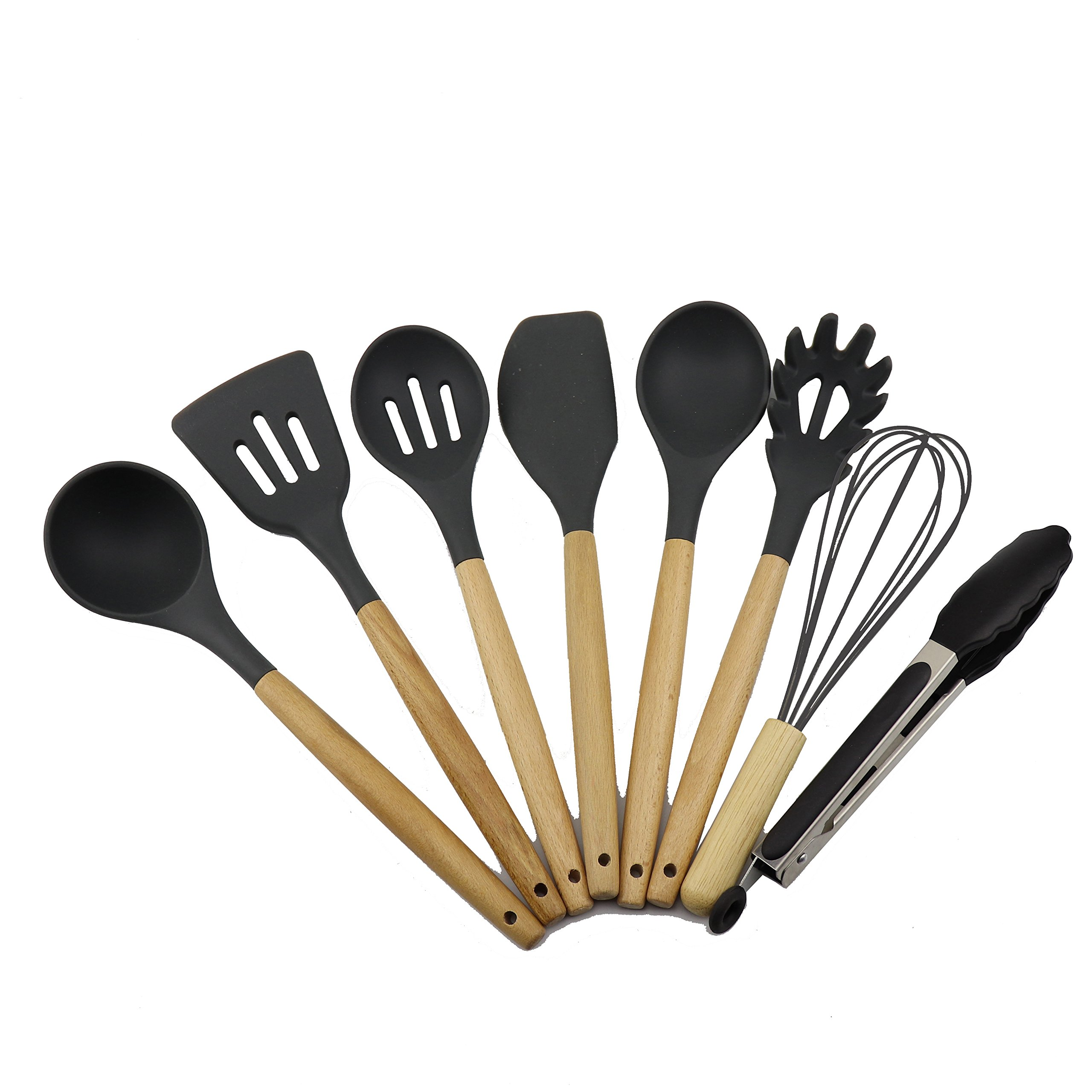 get quotations 8 piece premium silicone kitchen utensil set non stick kitchen utensils natural wood - Best Kitchen Utensils