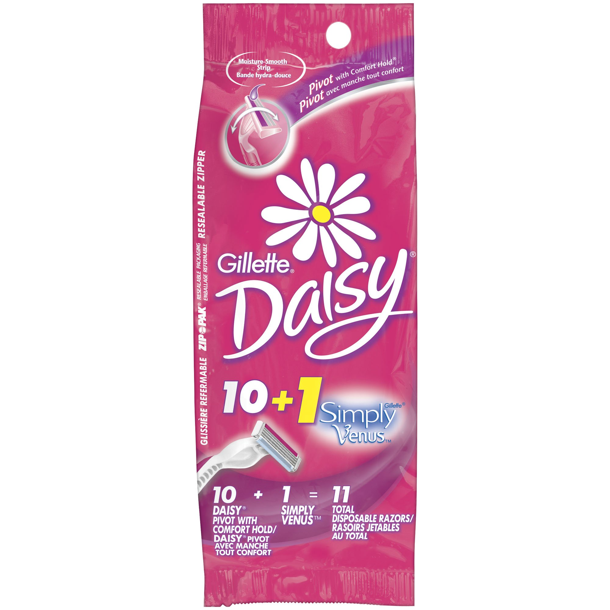 Gillette Daisy Women's Disposable Razor, 10 Count, Womens Razors / Blades