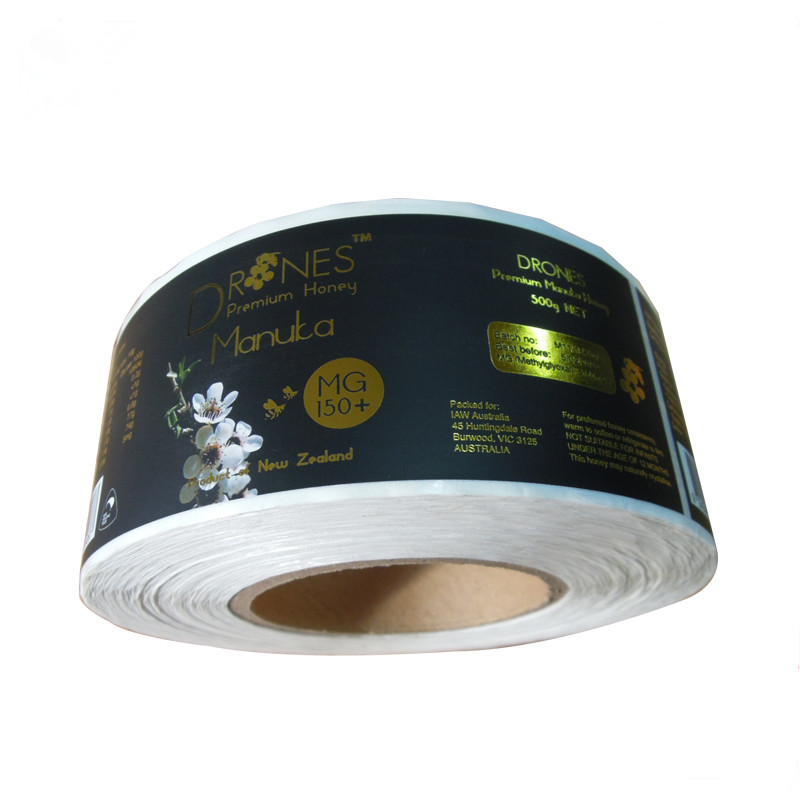 Adhesive Paper Sticker Printing Custom Bee Honey Private Labels