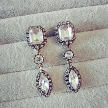 haha hot Jewerly 2015 New Fashion Earring Luxury Vintage Big Crystal Stone Water Drop Long Earrings For Woman