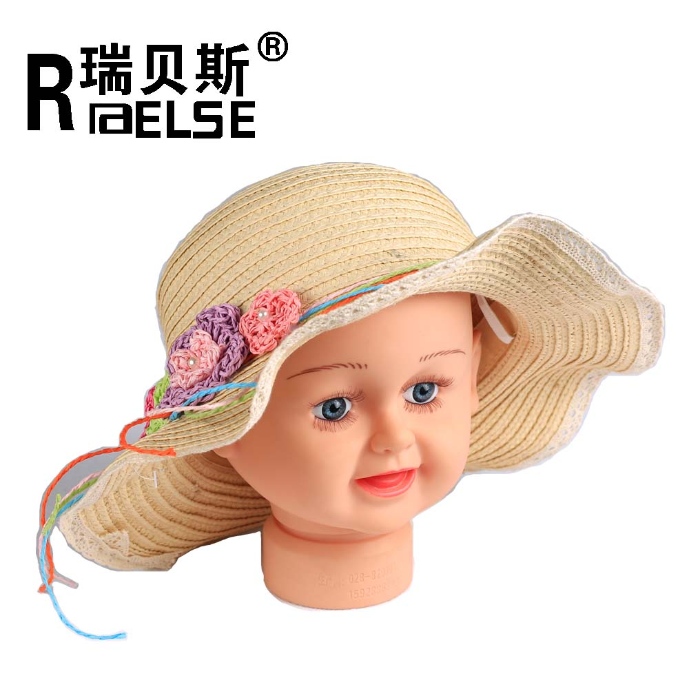 Fashion straw hat promotion for girl with lace and flower