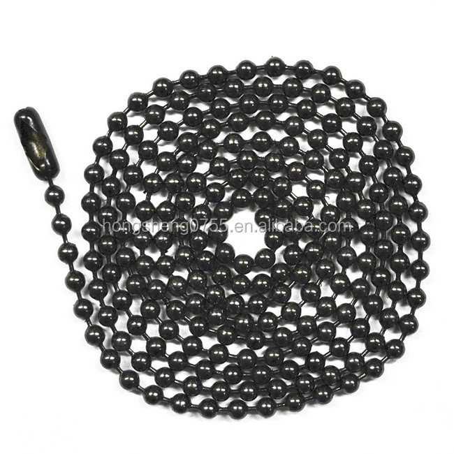 Black metal ball bead long chain necklace for men