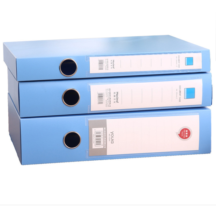 Rectangle Blue PP File Box A4 Size Data Document Storage Case For Hospital Office School PVC Lever Arch File
