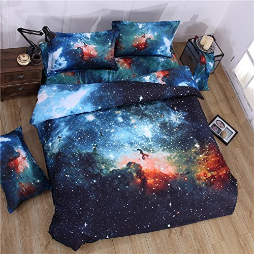 Galaxy Print Polyester Duvet Cover Bedding Sets Twin Size 4-Piece for Teen Kids ( 1 Duvet Cover,1 Flat Sheet,2 Pillow Cases)