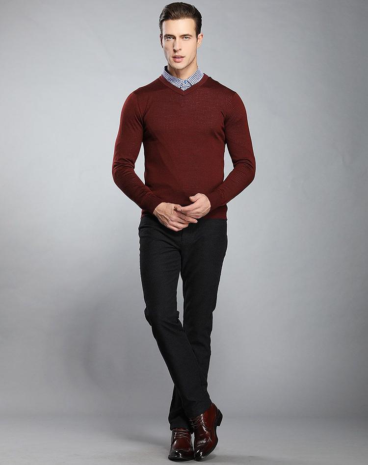 % 100 Pamuk desteği örnek v boyun kazak erkek tasarım, kazak erkek