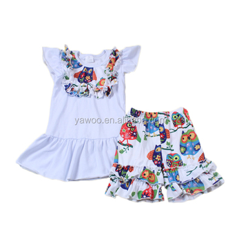 Yawoo wholesale summer newborn baby clothes colorful owl pattern wholesale children's boutique clothing kids clothes online