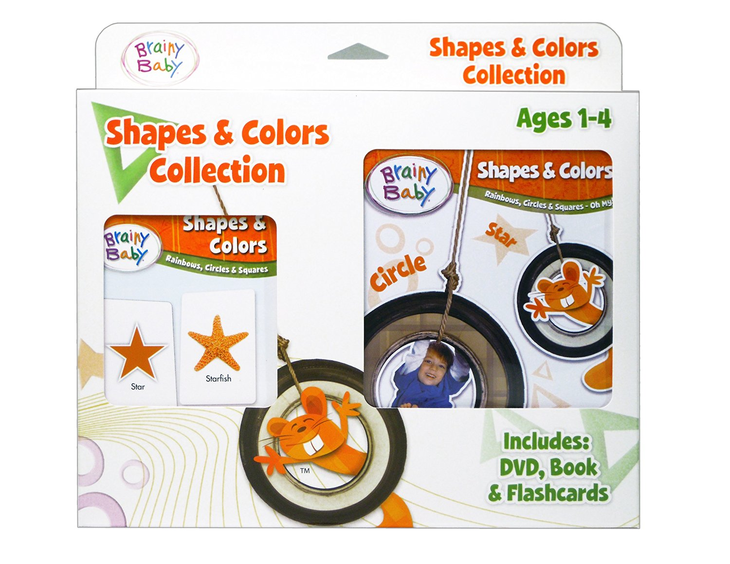 Brainy Baby Flash Cards, DVD and Board Book Shapes and Colors: Rainbows, Circles and Squares Collection