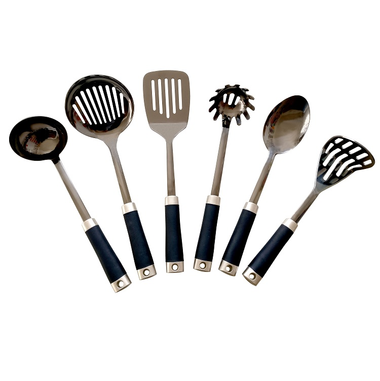 2019 High quality 6CS stainless non-stick steel kitchen utensil with TPR handle