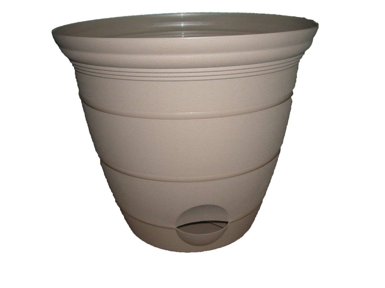 Misco Terra Collection Round Tapered Flared Self-Watering Planter with Ventilated Base, 12-Inch Diameter, Sandalwood