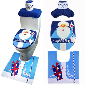 Christmas Decoration Santa Snowman Toilet Cover Set for Bathroom Home Decor 3Pcs/Set Toilet Seat Cover