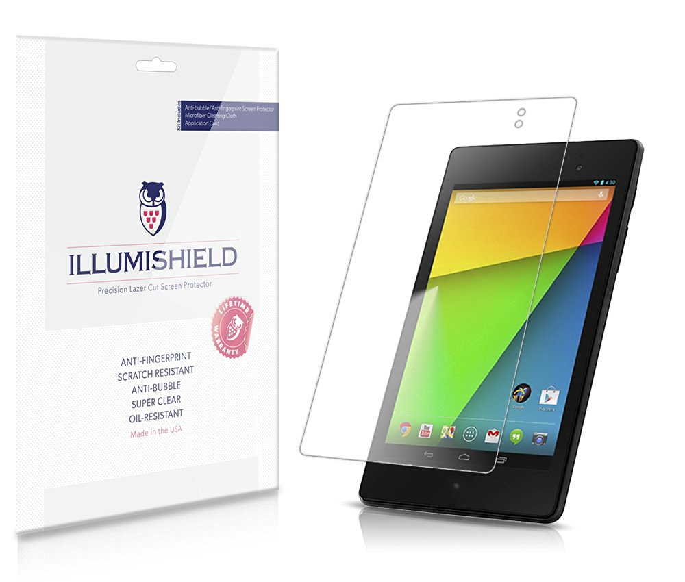 iLLumiShield - Google Nexus 7 Screen Protector (2013) Ultra Clear HD Film with Anti-Bubble and Anti-Fingerprint – High Quality Invisible LCD Shield – Lifetime Replacement – [3-Pack] (Model(s): LTE)