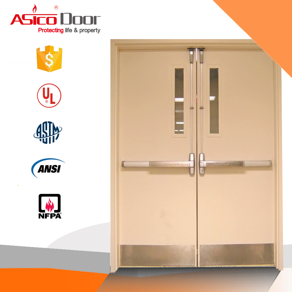 Standard Size Hospital Glass Window Simple Double Design Room Door With UL Listed