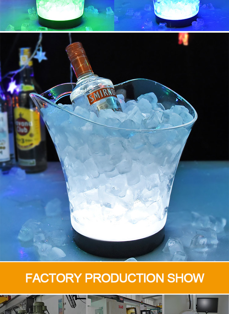 2019 New Cheap Plastic Acrylic Led Ice Bucket Cooler For Champagne Wine Beer Nightclub Wholesale