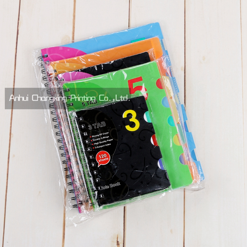popular double wire bound PP spiral notebook with divider for promotion