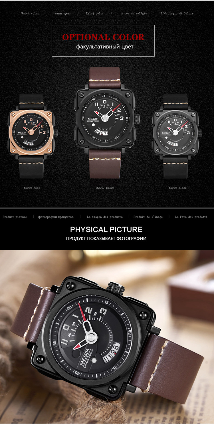 62bc60ae260b Relojes para hombre de lujo reloj Megir cuadrado reloj de lujo de deportes  del reloj hombre