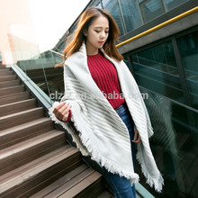 Hot sell 2017 warm colorful striped knit scarf with best quality and low price