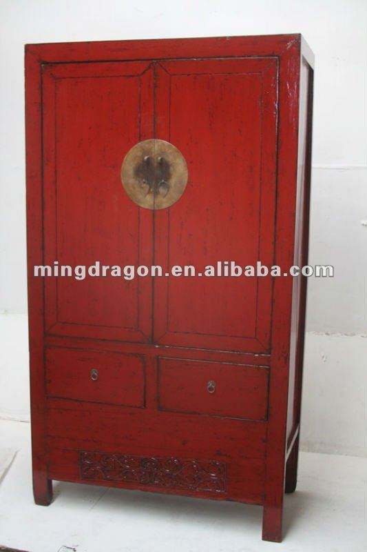 Antique Chinese Red Lacquer Wedding Wardrobe