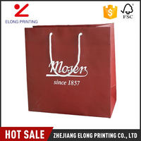 Newest sale unique design red shopping kraft paper tote bags with handles