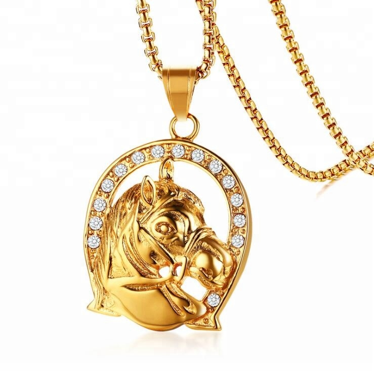 Length 60 cm High Quality Gold Filled Circle Horse Pendant Necklace Men фото