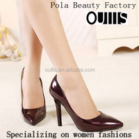 Mega March Sourcing 2017 Top fashion shiny patent PU stiletto ladies high heels Fashion pointed toe women dress shoes PMS3711