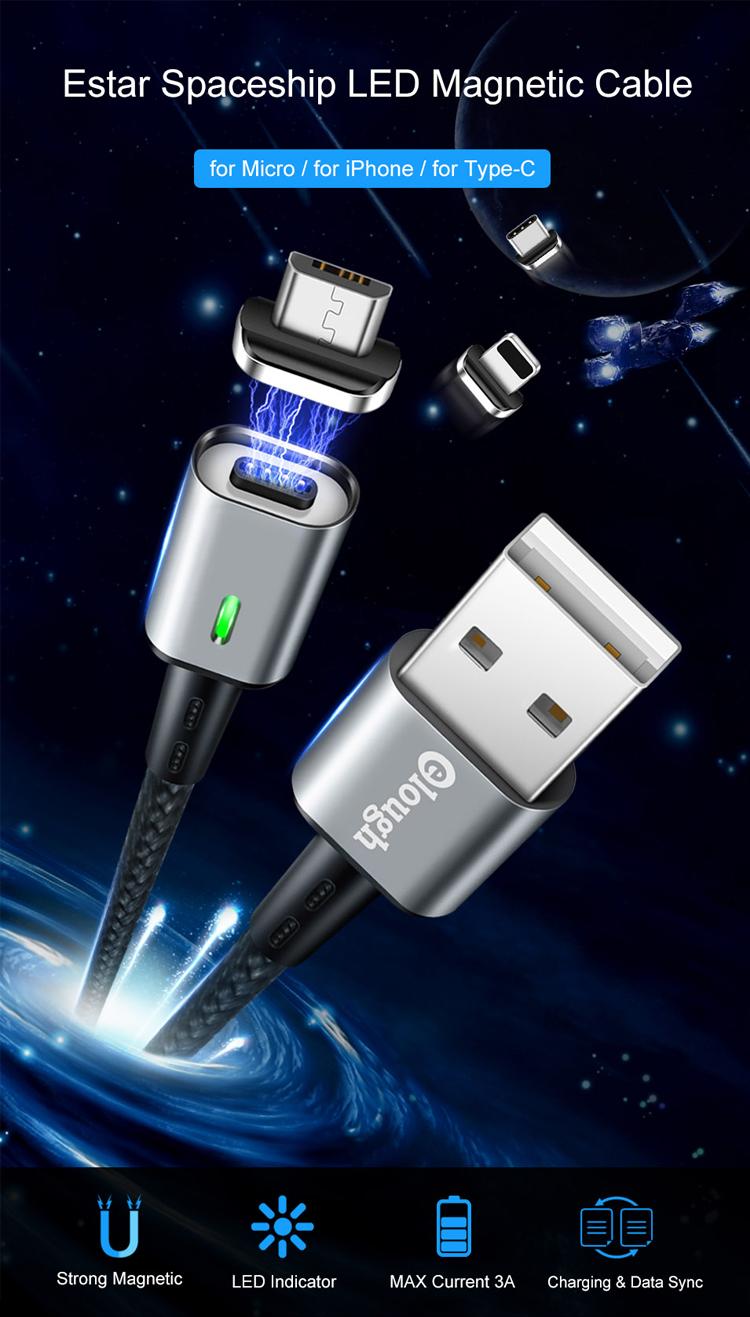 Elough OEM Aluminium Nylon Gevlochten magnetische Usb-kabel Voor iphone 7 charger kabel