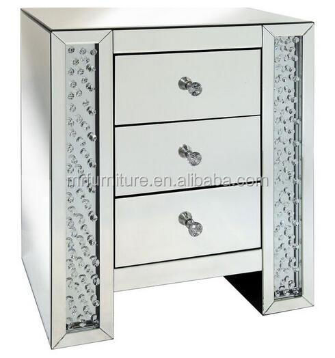 New Venetian Mirrored Floating Crystal Drawer Chest Bed Side Table