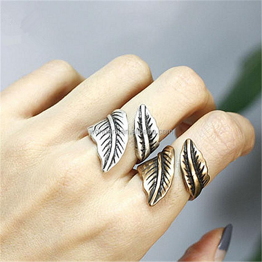 d340487de189 Forma de la hoja anillos para las niñas mujeres joyería Plated anillo de oro  antiguo aleación