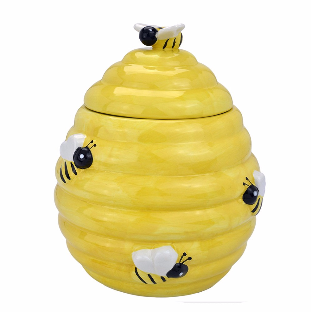 Decorative Yellow Beehive Design Ceramic Cookie Jar With Bee Handle Lid