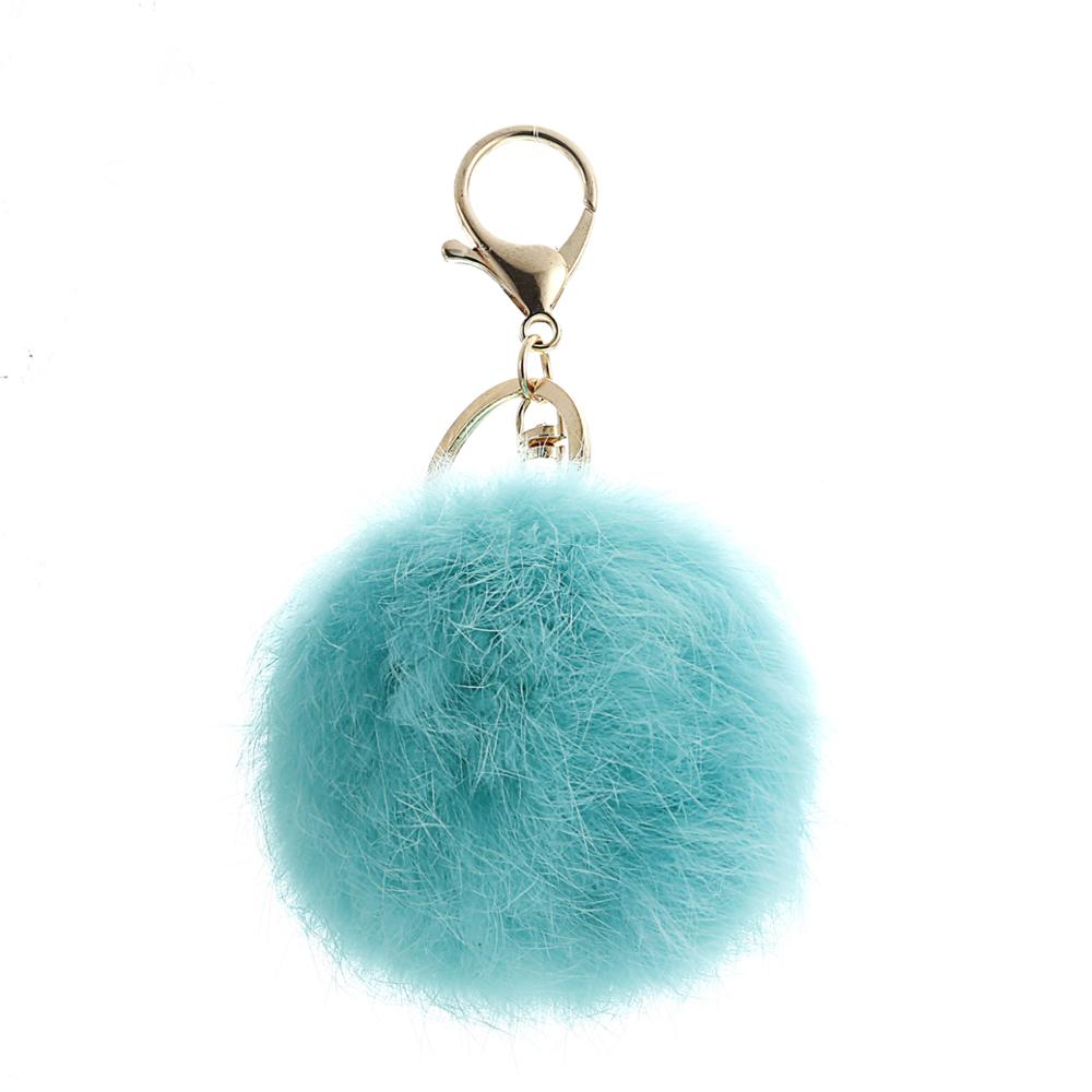 <strong>Cute</strong> Souvenir <strong>Gift</strong> Mixing Colors Real Rabbit Fur Pom Pom Keychains