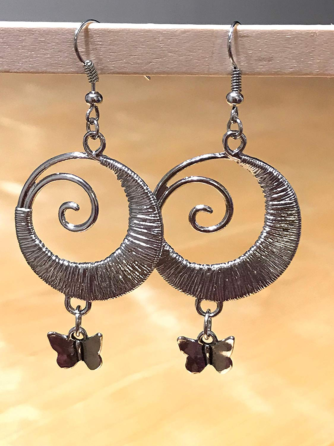 Aadyasha 2018 Creations Silver metal Dangles and butterfly Earring and drops