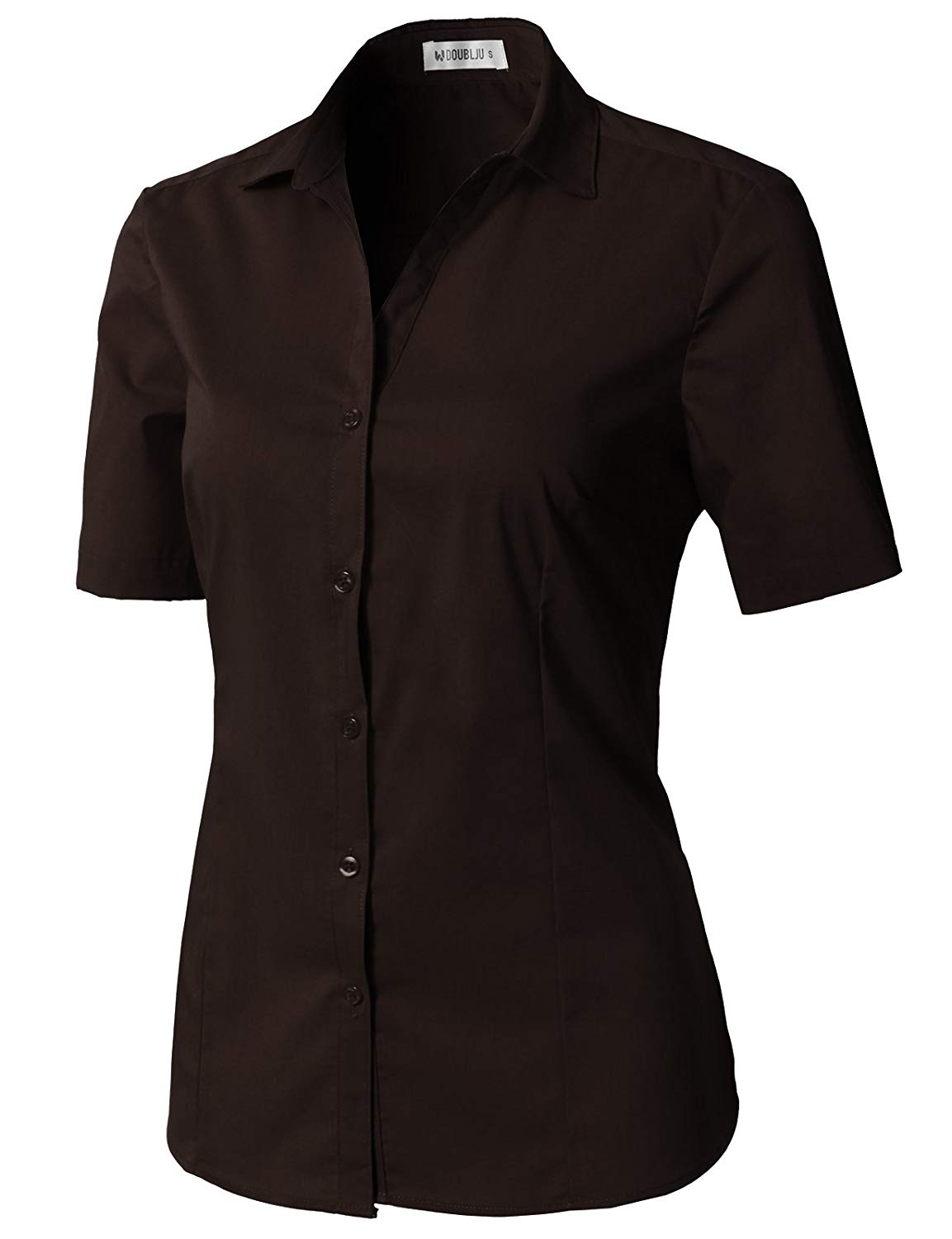 6f3b2ea47 Get Quotations · CLOVERY Women's Short Sleeve Basic Button Down Slim Fit  Fomal Shirt