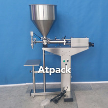 Atpack high-accuracy semi-automatic FDA manufacure clear round cosmetic loose powder jar filling machine with CE GMP