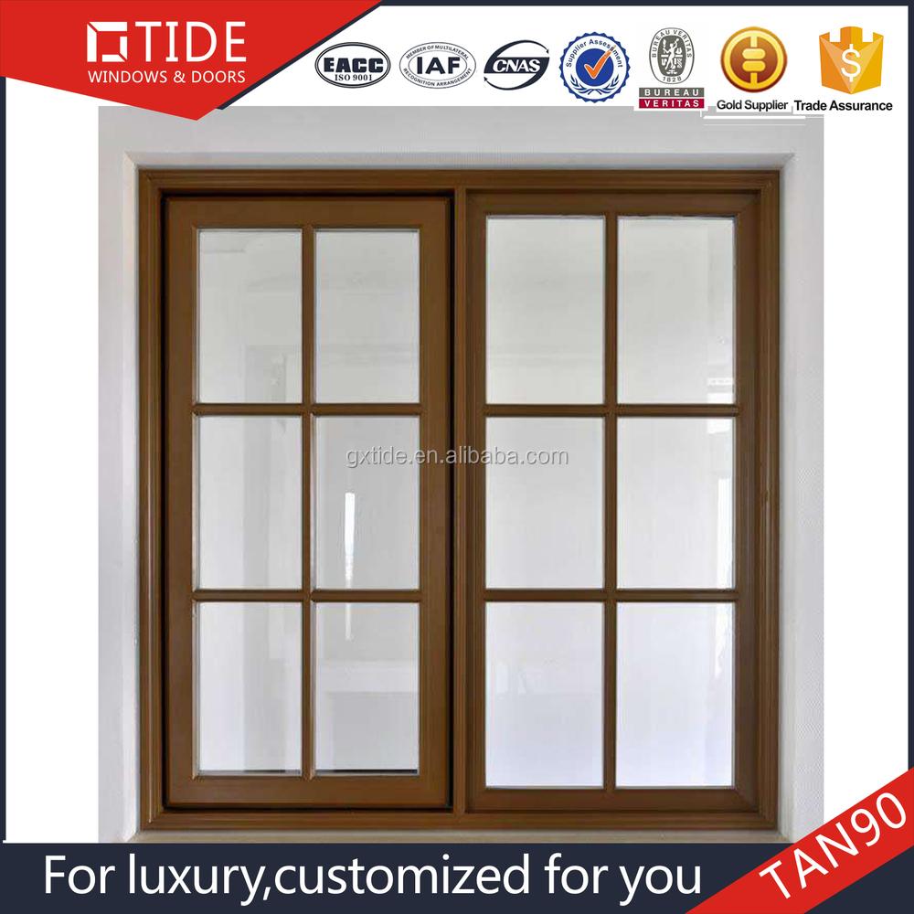 Latest Grille Window India Design,Wood Interior Aluminum