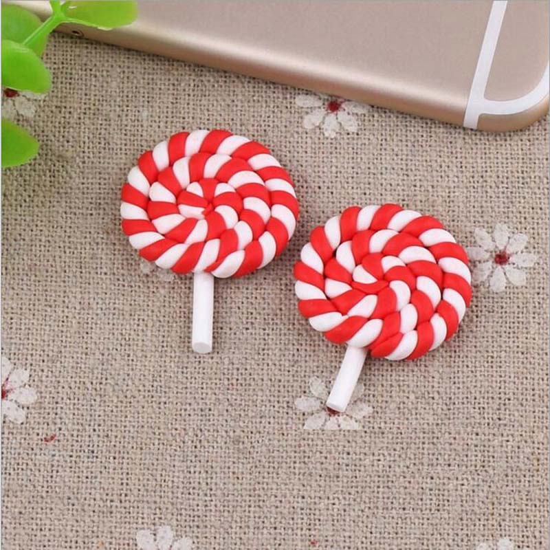 26*36mm Red Lollipop Polymer Clay Plano Voltar Cabochão Scrapbooking Enfeites