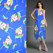 New design printed polyester silk satin dress 130gsm four sides spandex floral printed satin fabric