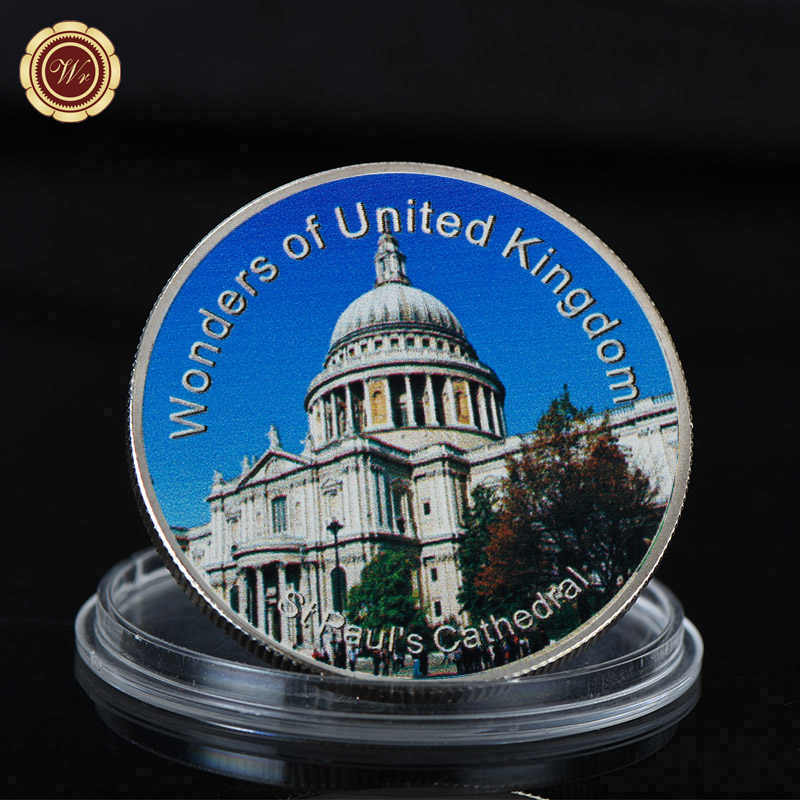 WR Customized UK Scenery Silver Coin St Paul's Cathedral Challenge Metal Coin Metal Ornament for Collection