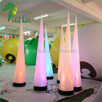 Factory price led lighting inflatable ivory cone for party decoration