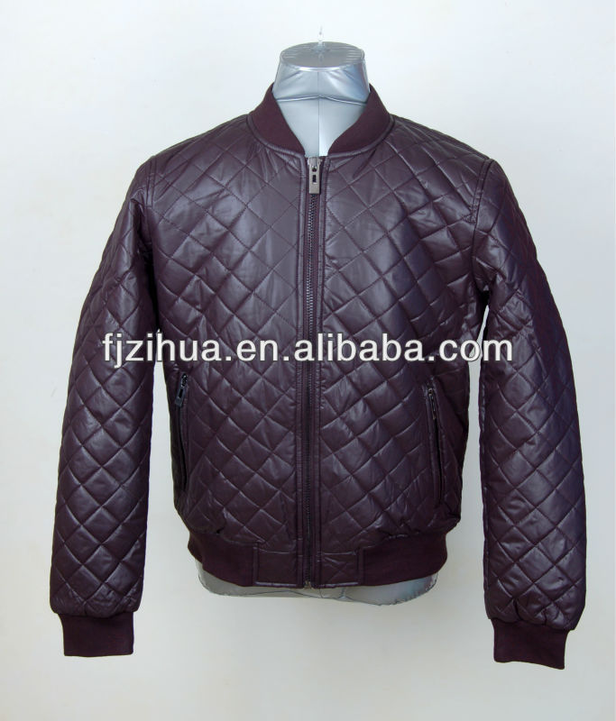Normal style quilting design men wadded jacket Diamond quilted