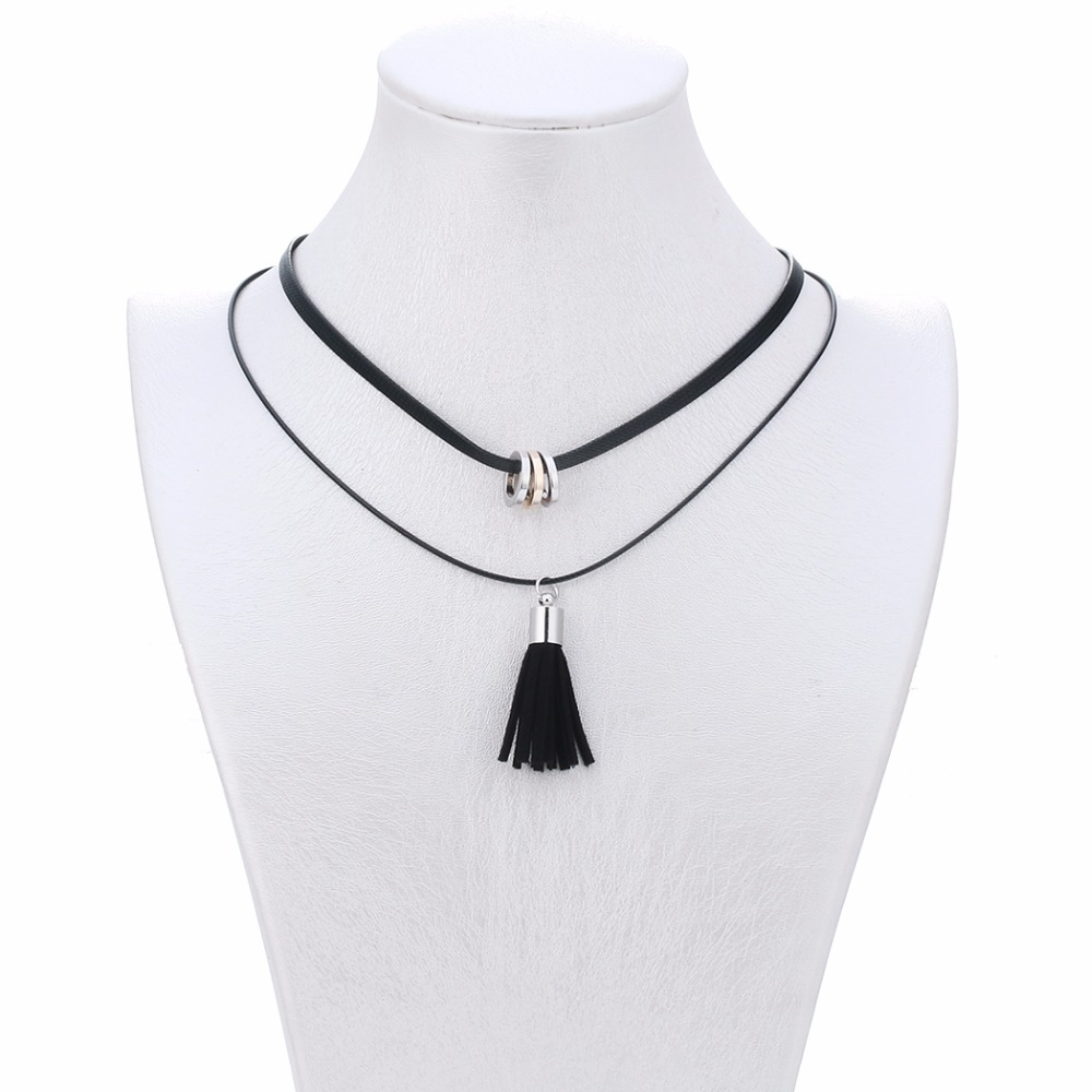 Choker Women's Fashion Trendy Double Layers Black Leather Long Tassel Pendants Necklaces For Party Jewelry