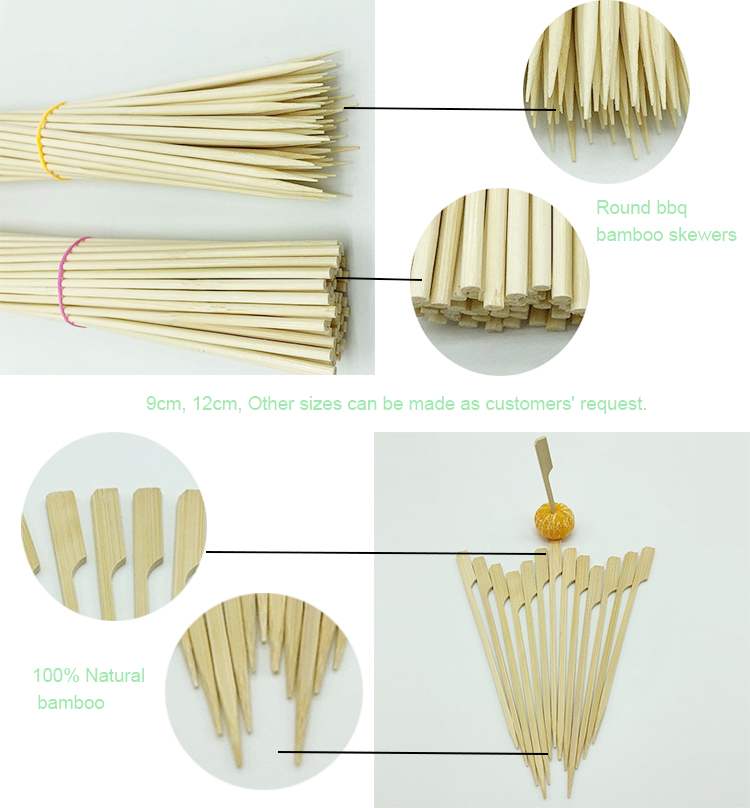 BBQ round bamboo sticks and skewers bamboo bbq