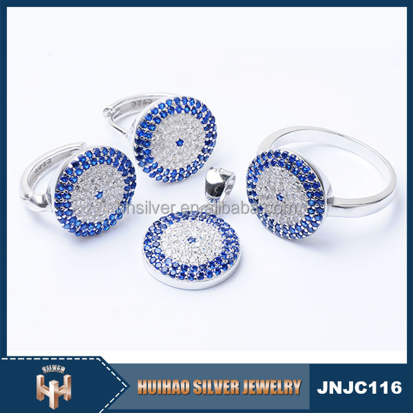 latest design blue cz evil eye 925 sterling silver turkish jewellery wholesale