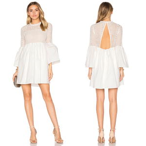 Chinese supplier white plain bell sleeve sexy dresses for women