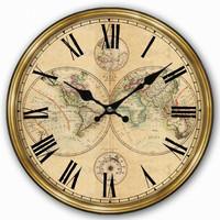 World map painted wall clocks, antique wall clock wooden wall clock