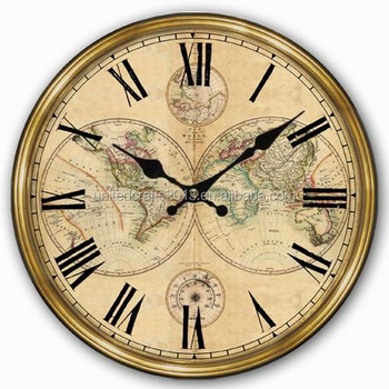 World map painted wall clocksantique wall clock wooden wall clock world map painted wall clocks antique wall clock wooden wall clock gumiabroncs Images