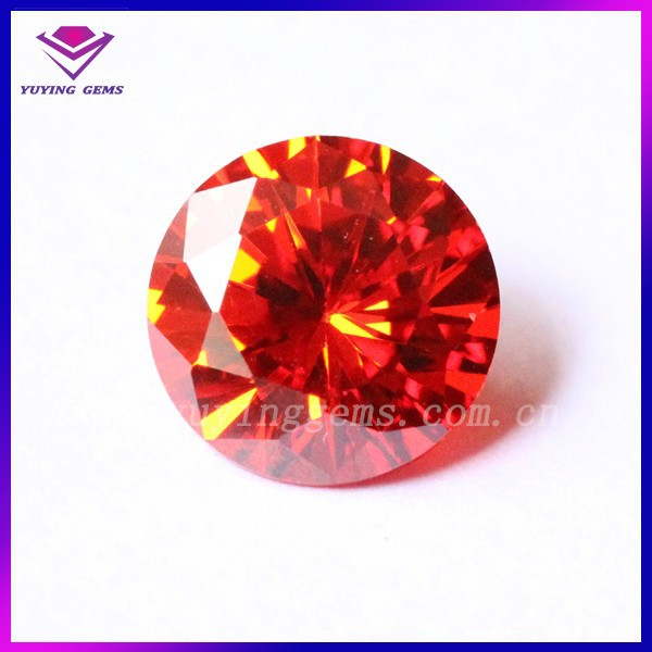 Factory Price 8mm Brilliant Cut <strong>Orange</strong> Round Cubic Zirconia Wholesale