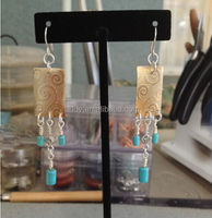 Mixed Metal Chandelier Style Pierced turquoise brass and Silver Earrings
