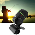 LED Light Electronic Fish Bite Strike Sound Alarm Bell Alert Clip On Fishing Rod Pole Black