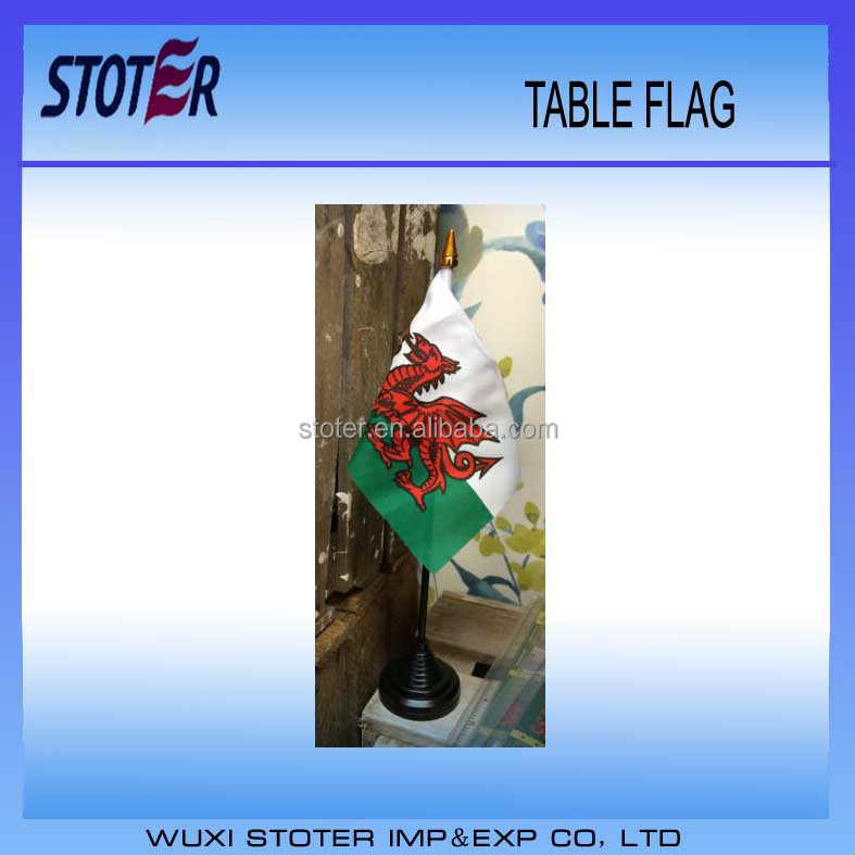 "WALES DELUXE SATIN TABLE FLAG 9""X6"" CHROME POLE & BASE Stands 15"" WELSH"