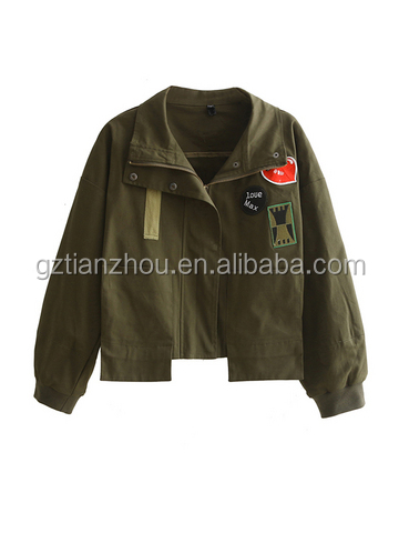 Hot High Quality Popular Army Green Embroidered Fringe Jacket With Zipper Front For Women Wear